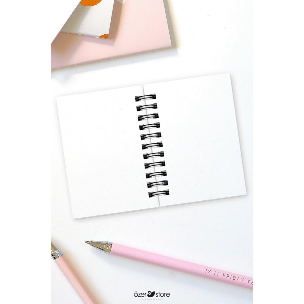Siyah-pembe-beyaz Renkli 3'lü Çanta Boyu Spiralli Mini Not Defteri Seti