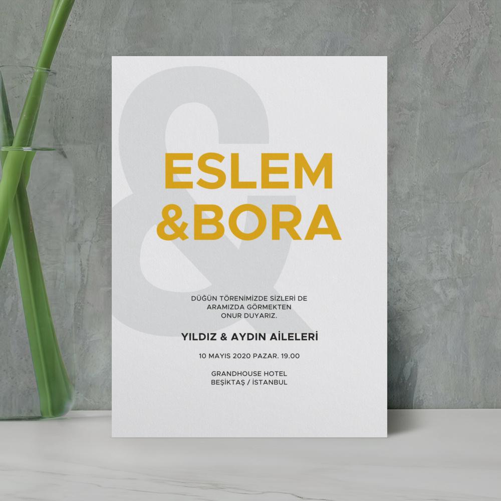 Sarı Modern Düğün Davetiyesi 700301