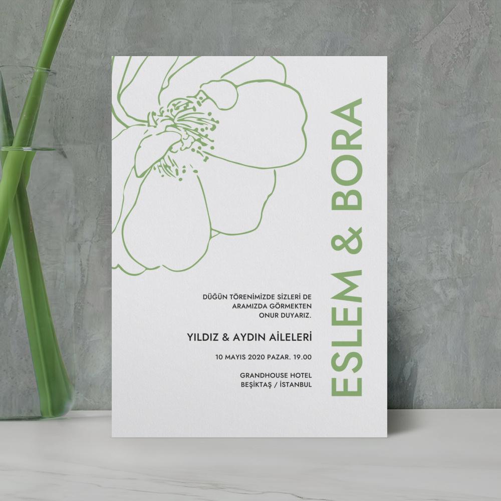 Yeşil Çiçekli Düğün Davetiyesi 700303