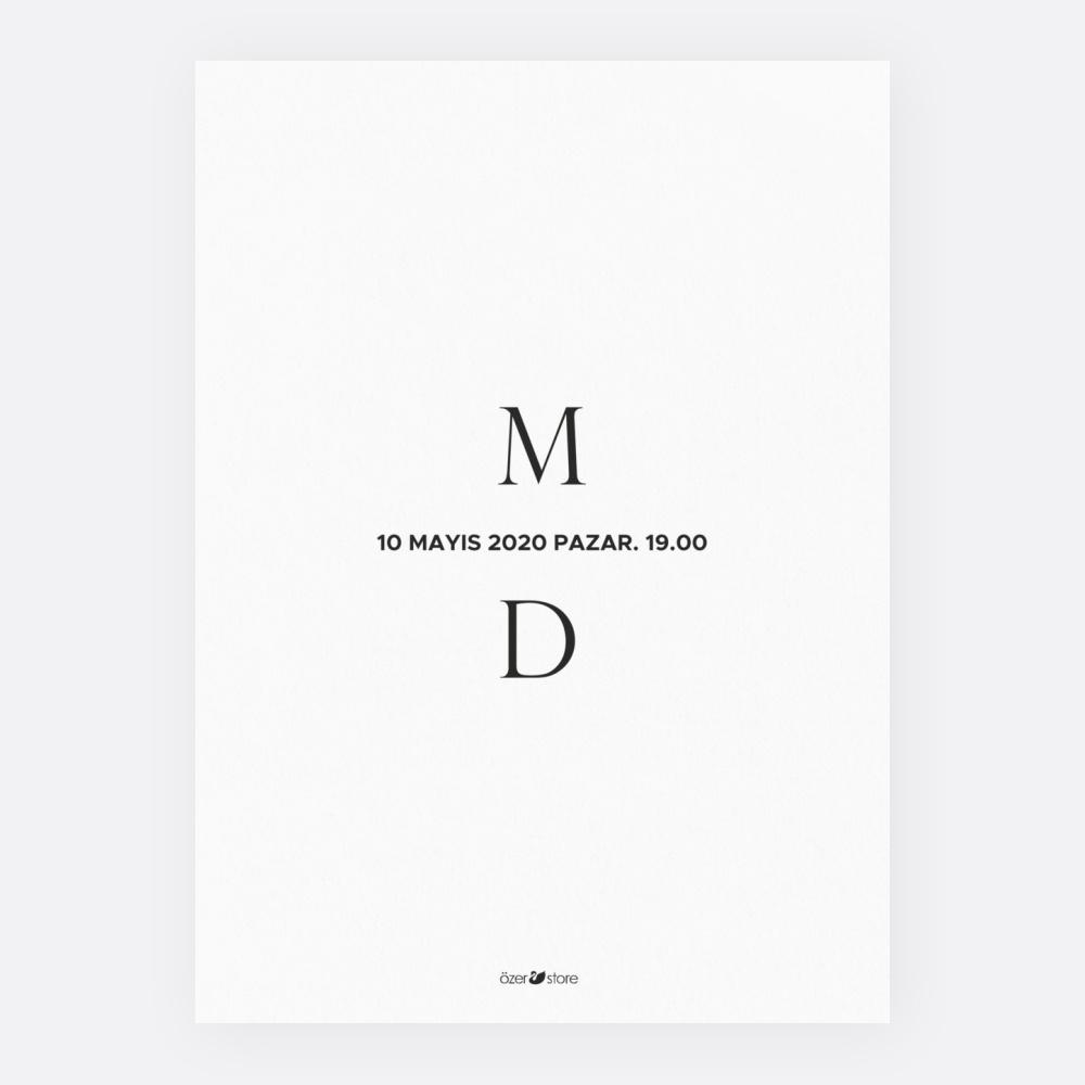 Beyaz Modern Düğün Davetiyesi 700305