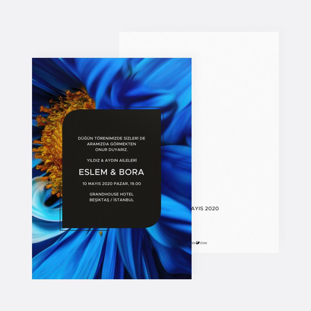 Mavi Yaprak Düğün Davetiyesi 700324