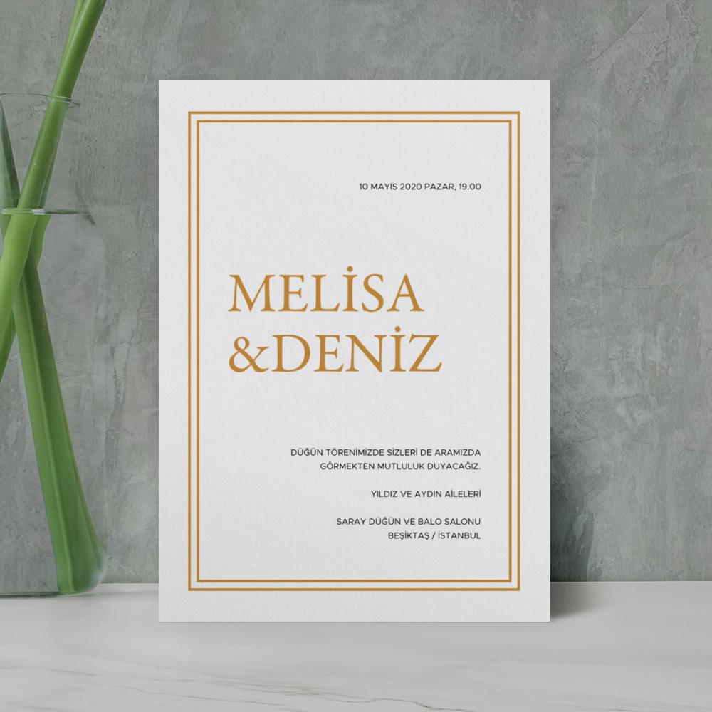 Gold Sade Düğün Davetiyesi 700356