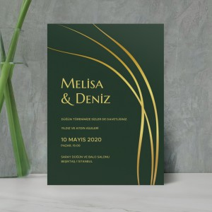 Yeşil Gold Düğün Davetiyesi 700358