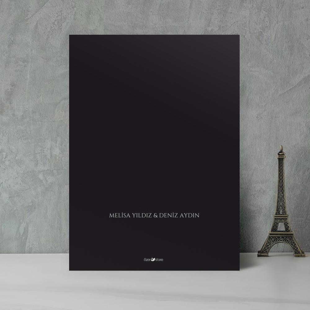 Siyah Modern Düğün Davetiyesi 700359