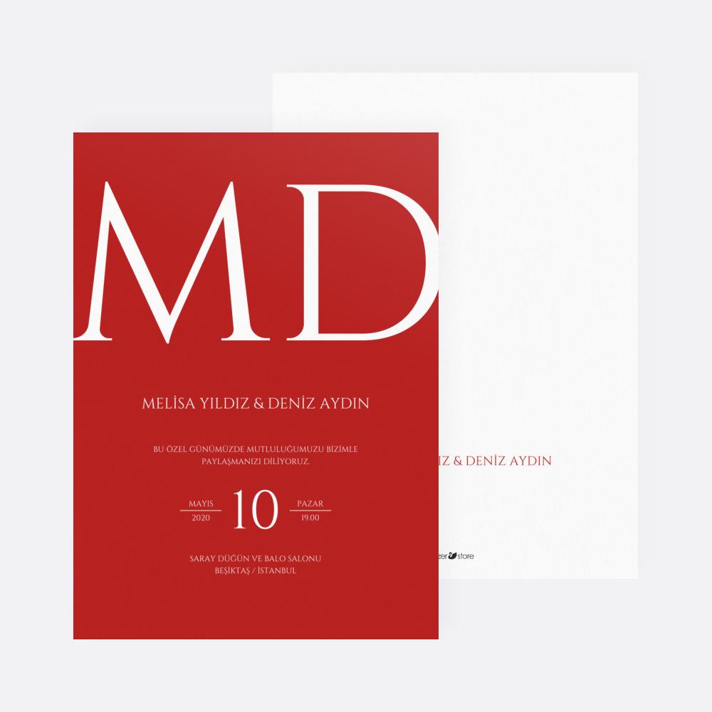 Kırmızı Modern Düğün Davetiyesi 700360