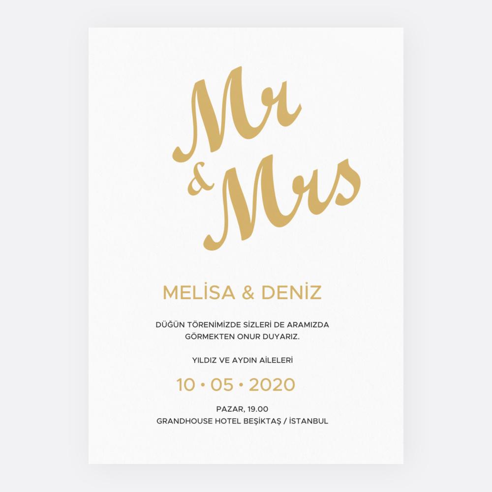 Sarı Desenli Düğün Davetiyesi 700367