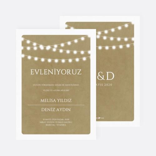 Kahverengi Işıltılı Düğün Davetiyesi 700391