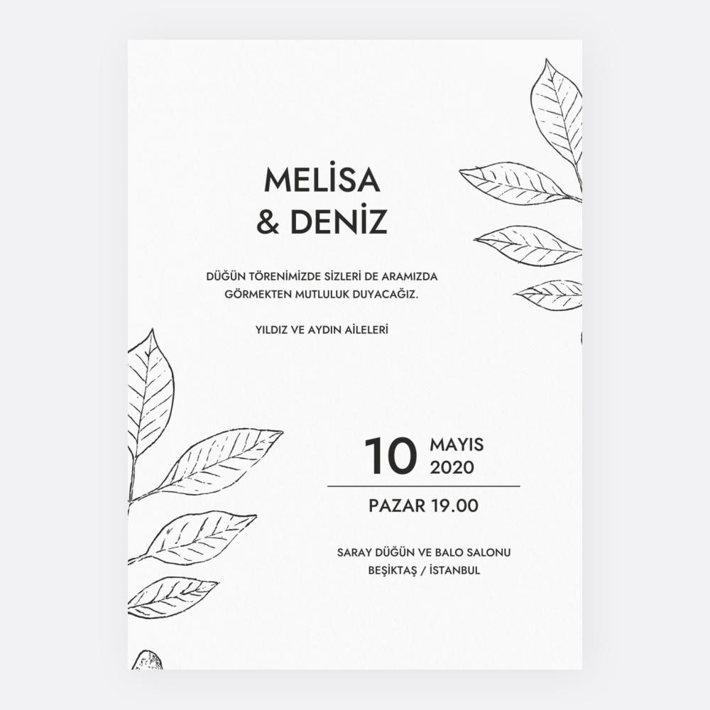 Beyaz Yaprak Düğün Davetiyesi 700347