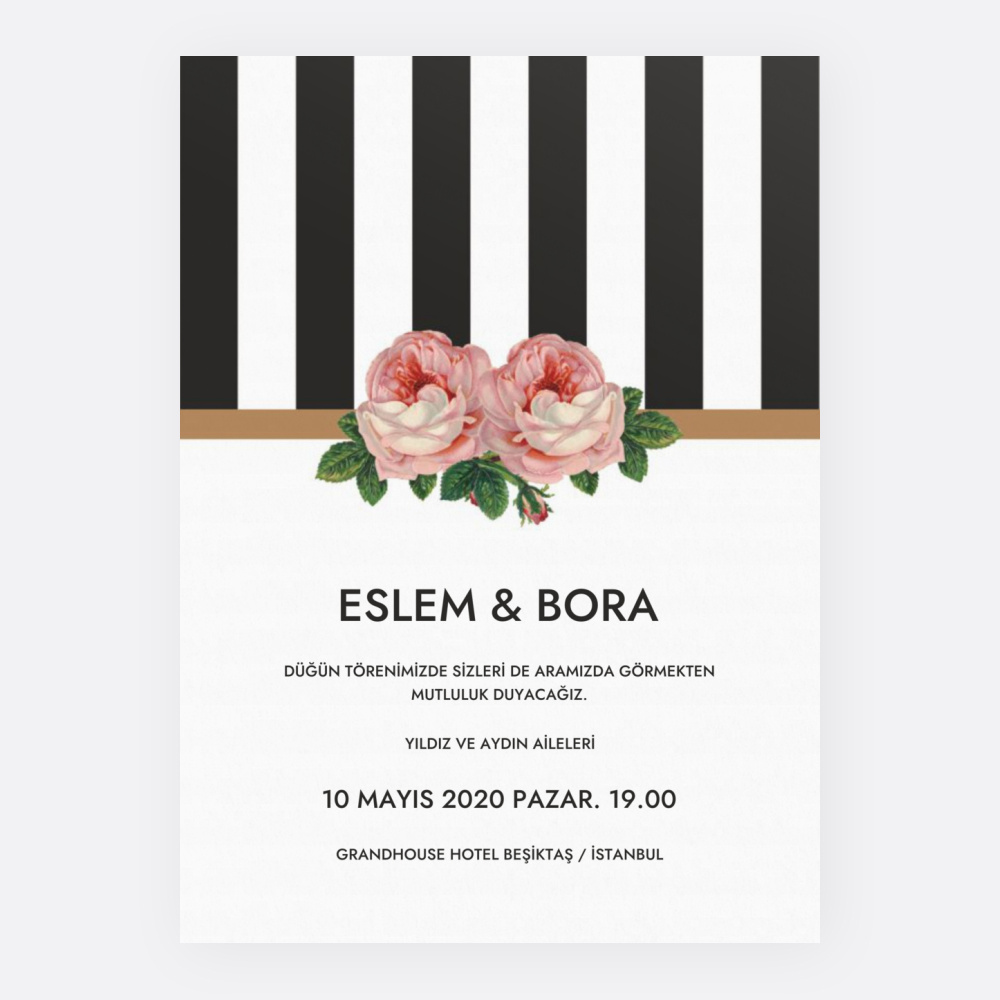 Çizgili Çiçekli Düğün Davetiyesi 700310