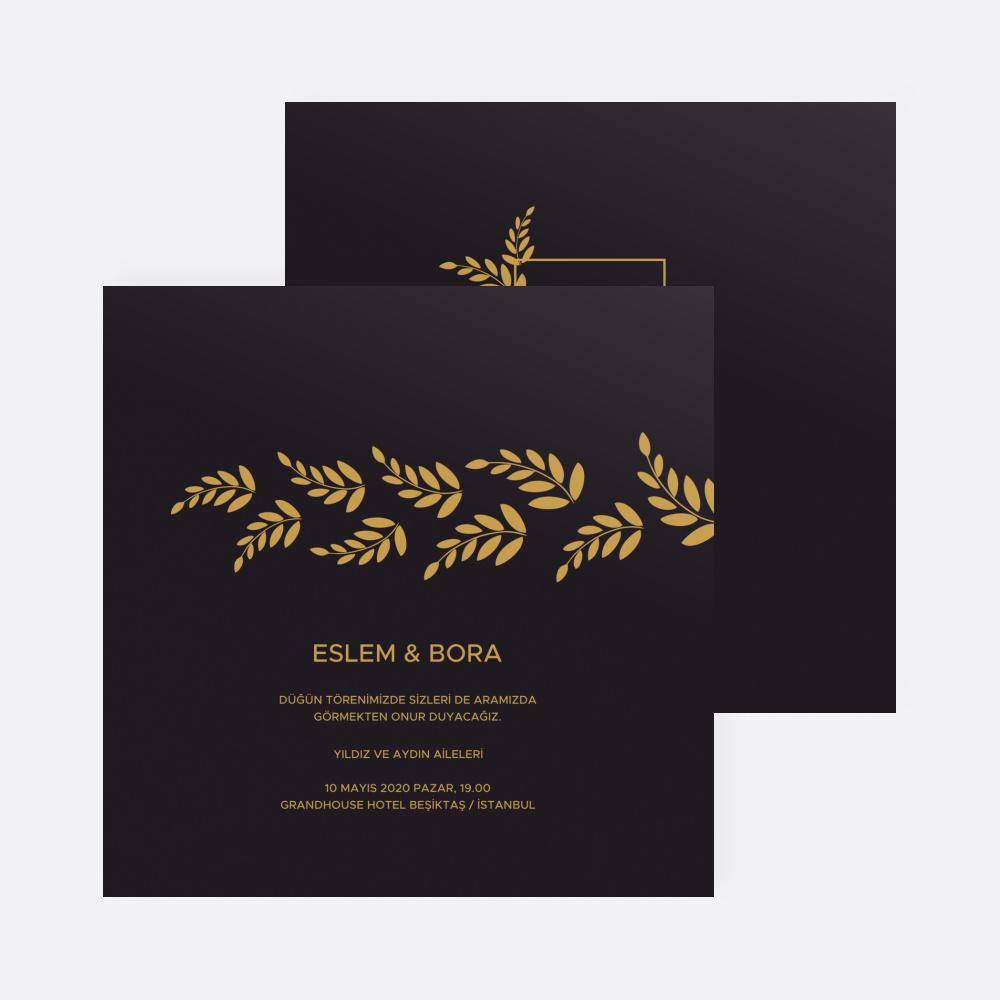 Siyah Gold Yapraklı Düğün Davetiyesi 700379