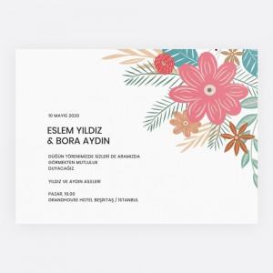 Renkli Çiçekli Düğün Davetiyesi 700315