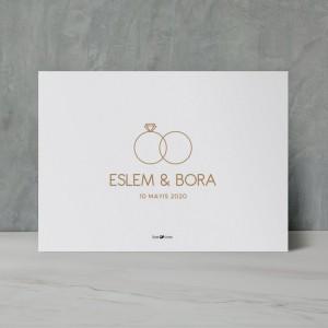 Yüzük Detaylı Modern Düğün Davetiyesi 700316