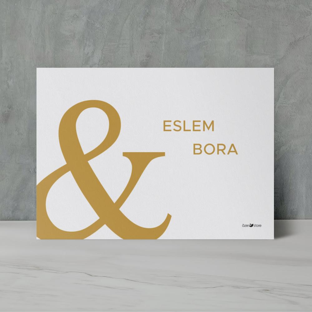 Gold Modern Düğün Davetiyesi 700319