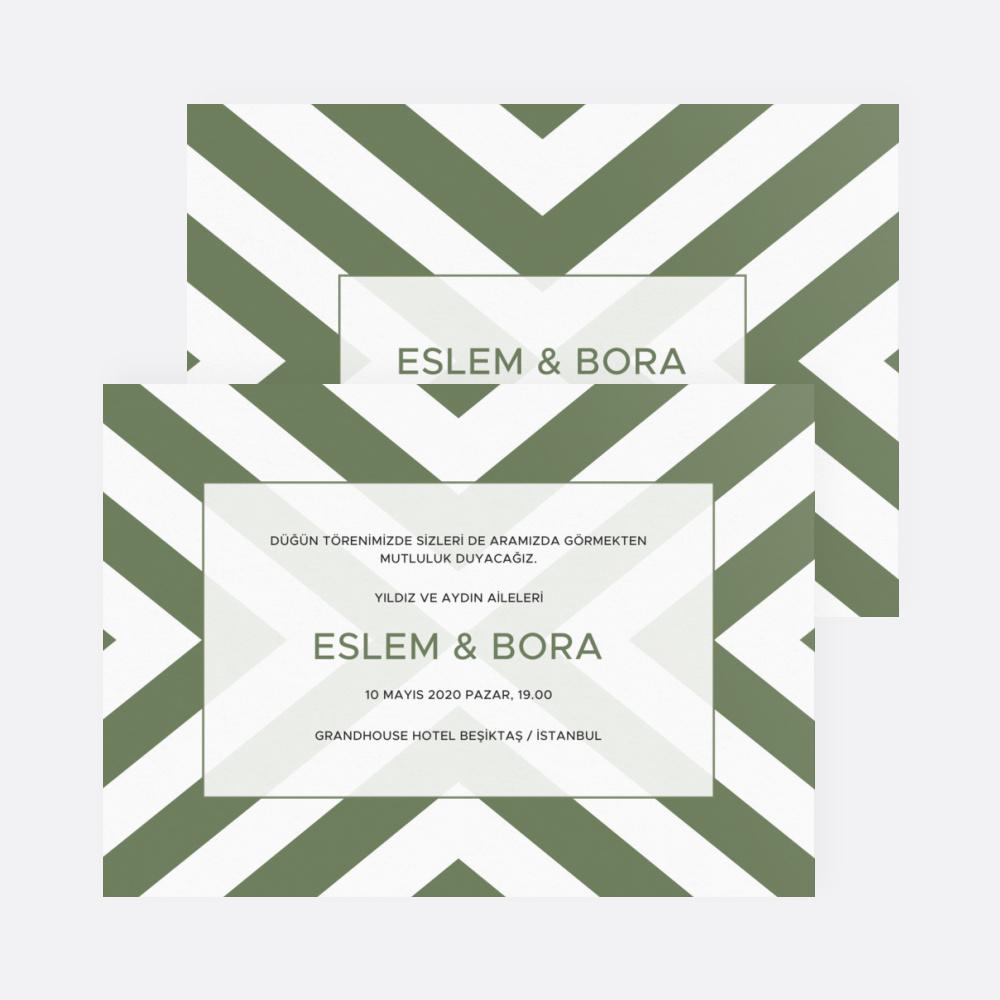 Yeşil Çizgili Düğün Davetiyesi 700325