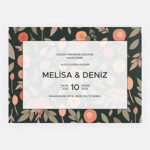 Yeşil Çiçek Bahçesi Düğün Davetiyesi 700331