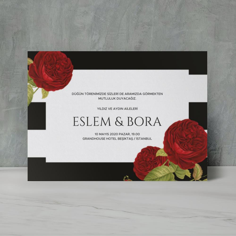 Kırmızı Çiçekli Modern Düğün Davetiyesi 700314
