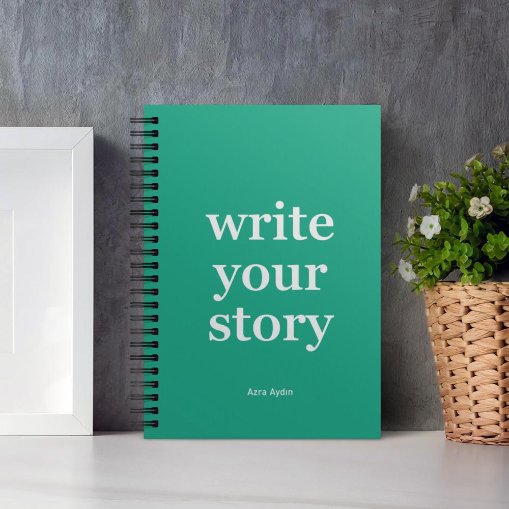 Write Your Story Yeşil İsimli Kişiye Özel Defter