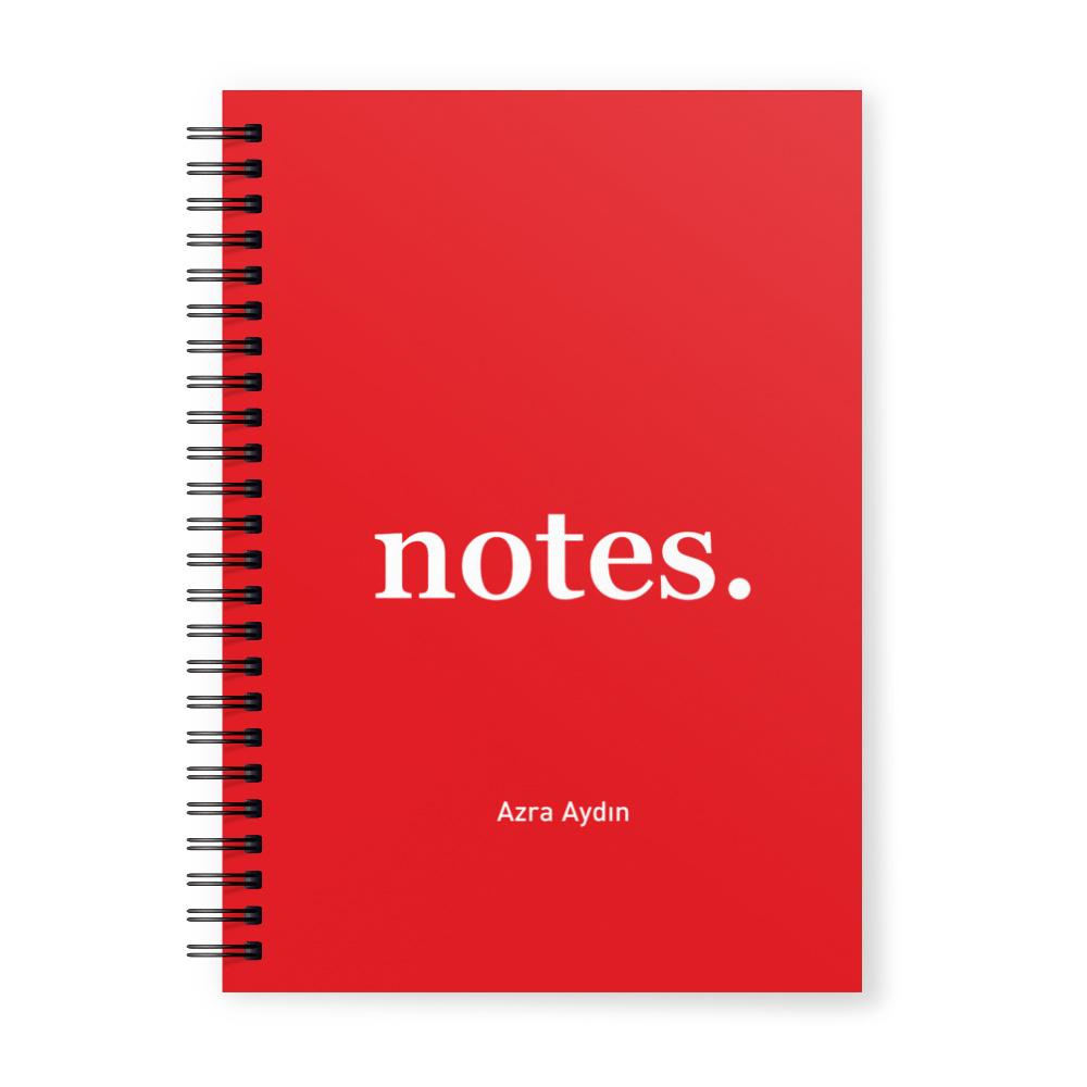 Notes Kırmızı İsimli Kişiye Özel Defter
