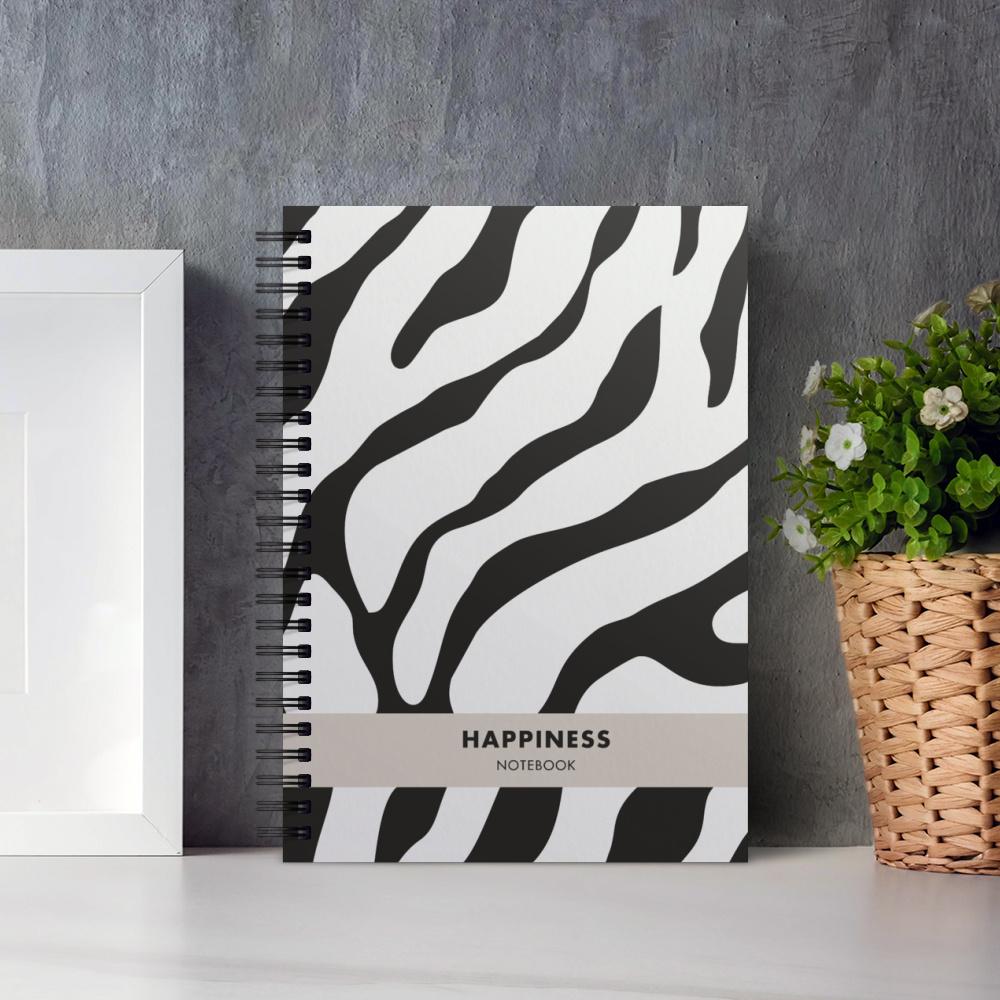 Siyah Beyaz Zebra Desenli Kişiye Özel İsimli Sert Kapak Spiralli Defter
