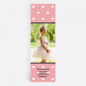 Pembe Kalpli Kişiye Özel Kitap Ayracı 70014