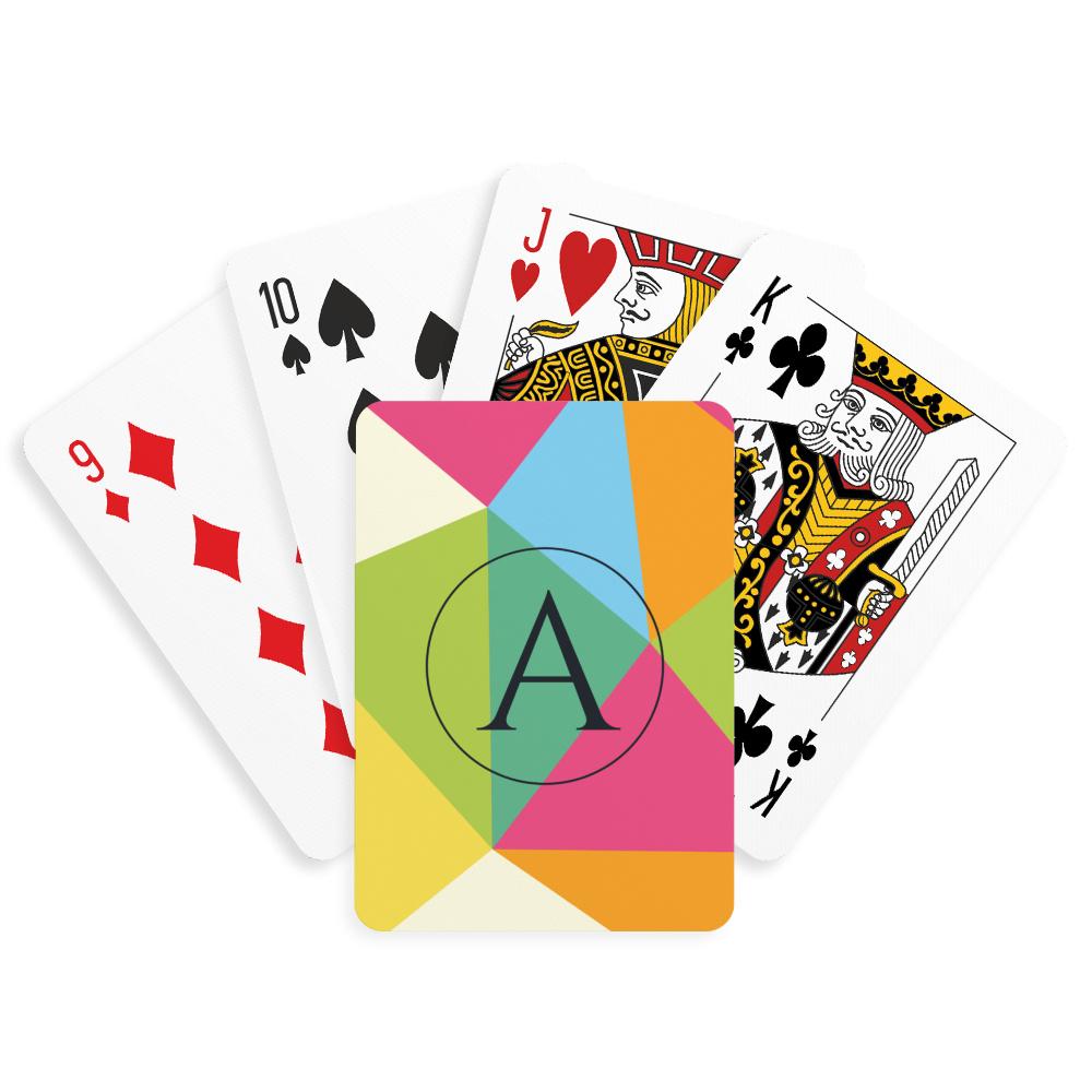 Renkli Üçgenli Baş Harfli Kişiye Özel Oyun Kartı
