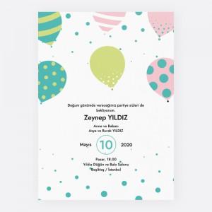 Soft Balonlu Çocuk Parti Davetiyesi