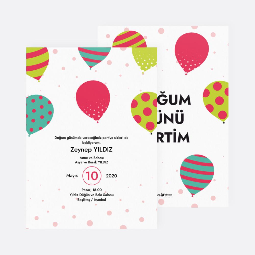Renkli Balonlu Çocuk Parti Davetiyesi