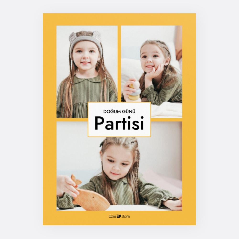Sarı Üç Fotoğraflı Parti Davetiyesi