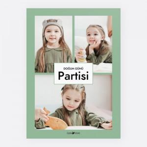Yeşil Üç Fotoğraflı Parti Davetiyesi