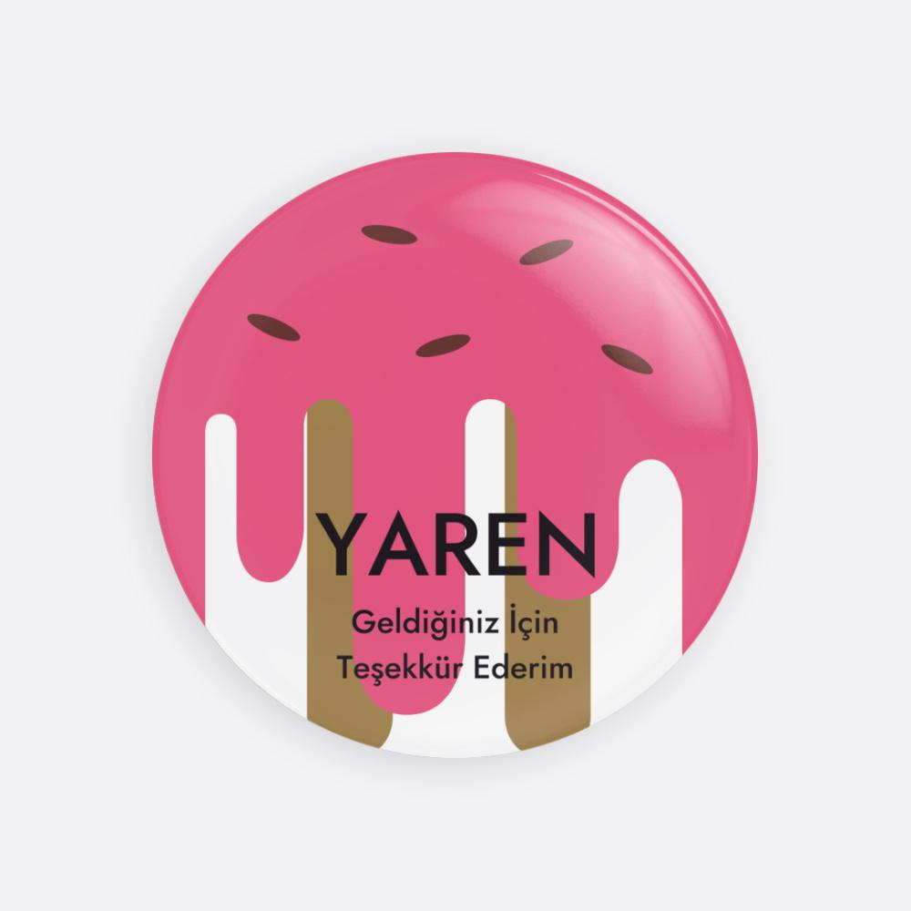 Pembe Dondurma Buton Rozet