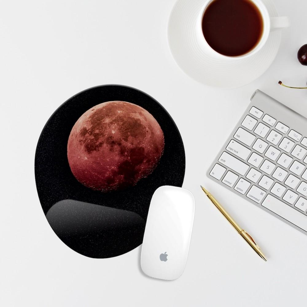 Ay Temalı Bilek Destekli Oval Mouse Altlığı
