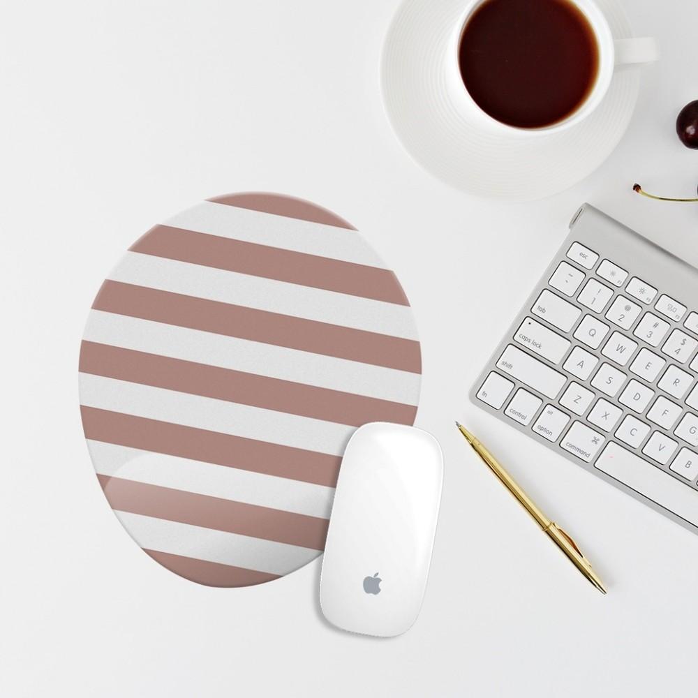 Çizgili Bilek Destekli Oval Mouse Pad