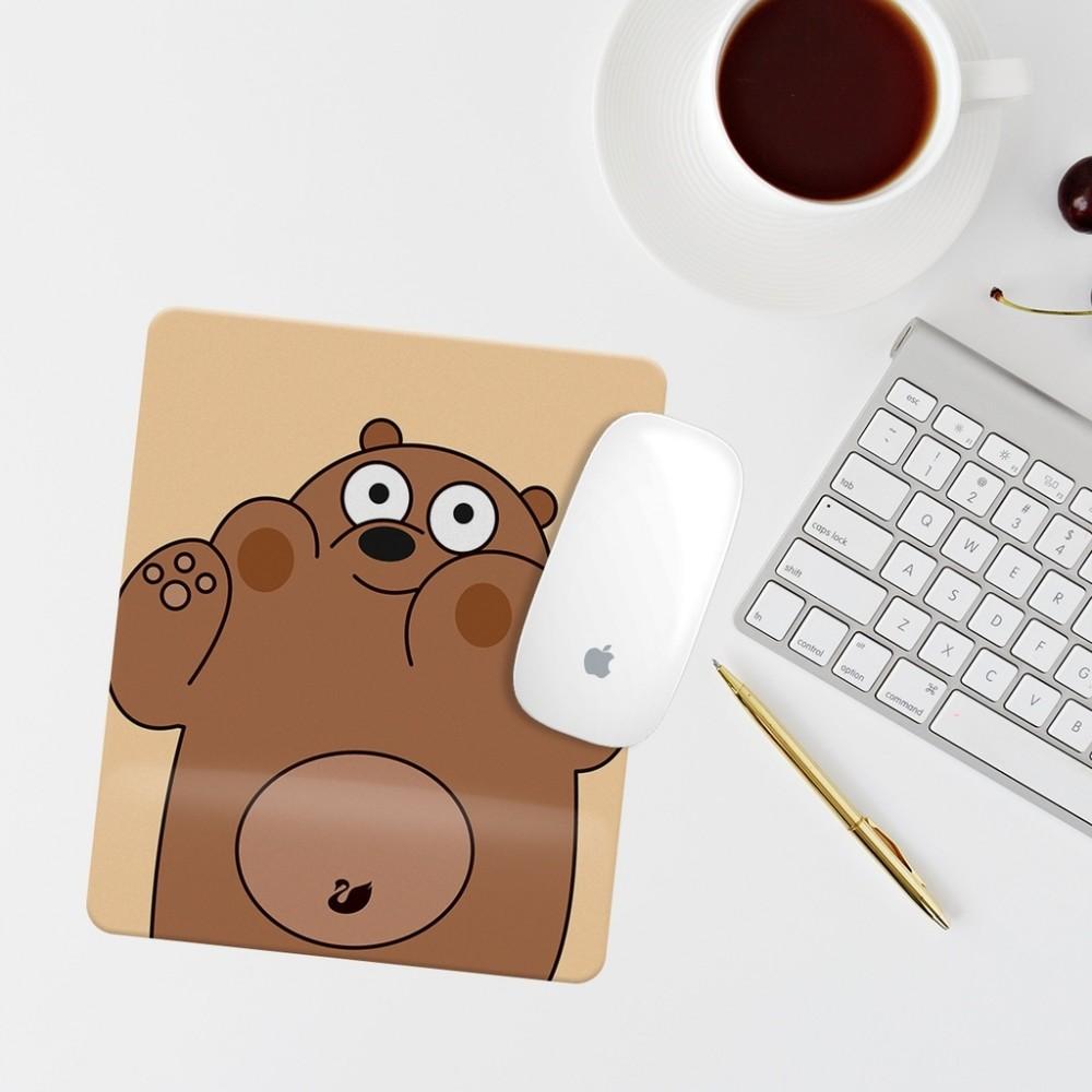 Kahverengi Ayıcıklı Bilek Destekli Dikdörtgen Mouse Pad