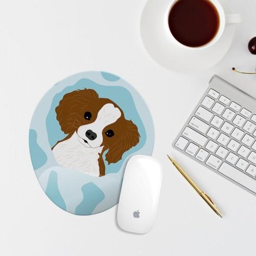 Mavi Köpek Çizimli Bilek Destekli Oval Mouse Pad Mouse Altlığı