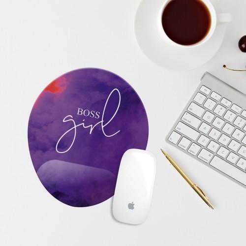 Mor Girl Boss Yazılı Bilek Destekli Oval Mouse Altlığı