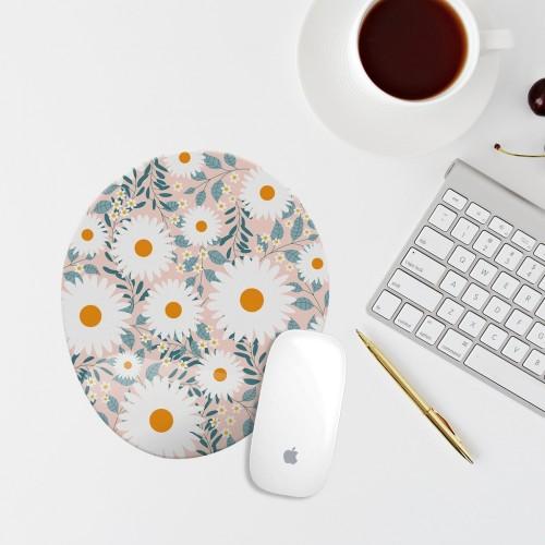 Çiçekli Bilek Destekli Oval Mouse Pad