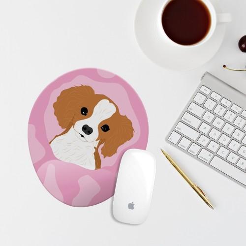 Pembe Köpek Çizimli Bilek Destekli Oval Mouse Pad Mouse Altlığı