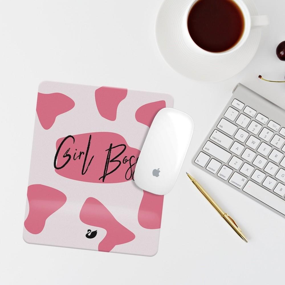 Pembe Leopar Girl Boss Yazılı Bilek Destekli Dikdörtgen Mouse Pad