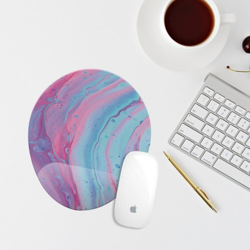 Pembe Mermer Bilek Destekli Oval Mouse Pad