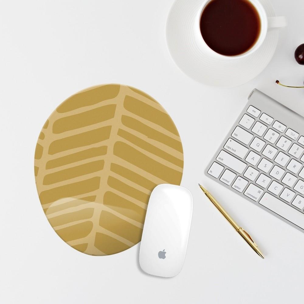Sarı Desenli Bilek Destekli Oval Mouse Pad