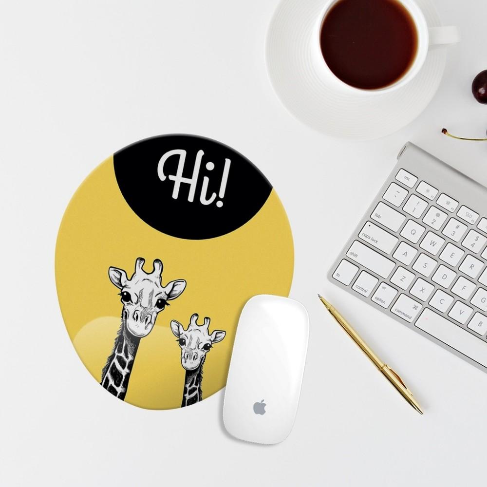 Sarı Zürafa Çizimli Bilek Destekli Oval Mouse Pad
