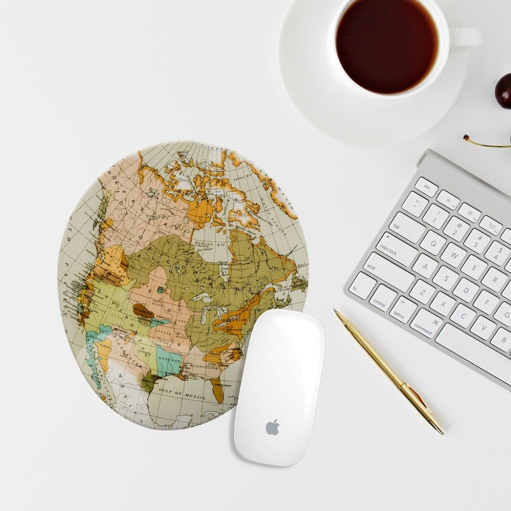 Vintage Harita Bilek Destekli Oval Mouse Altlığı